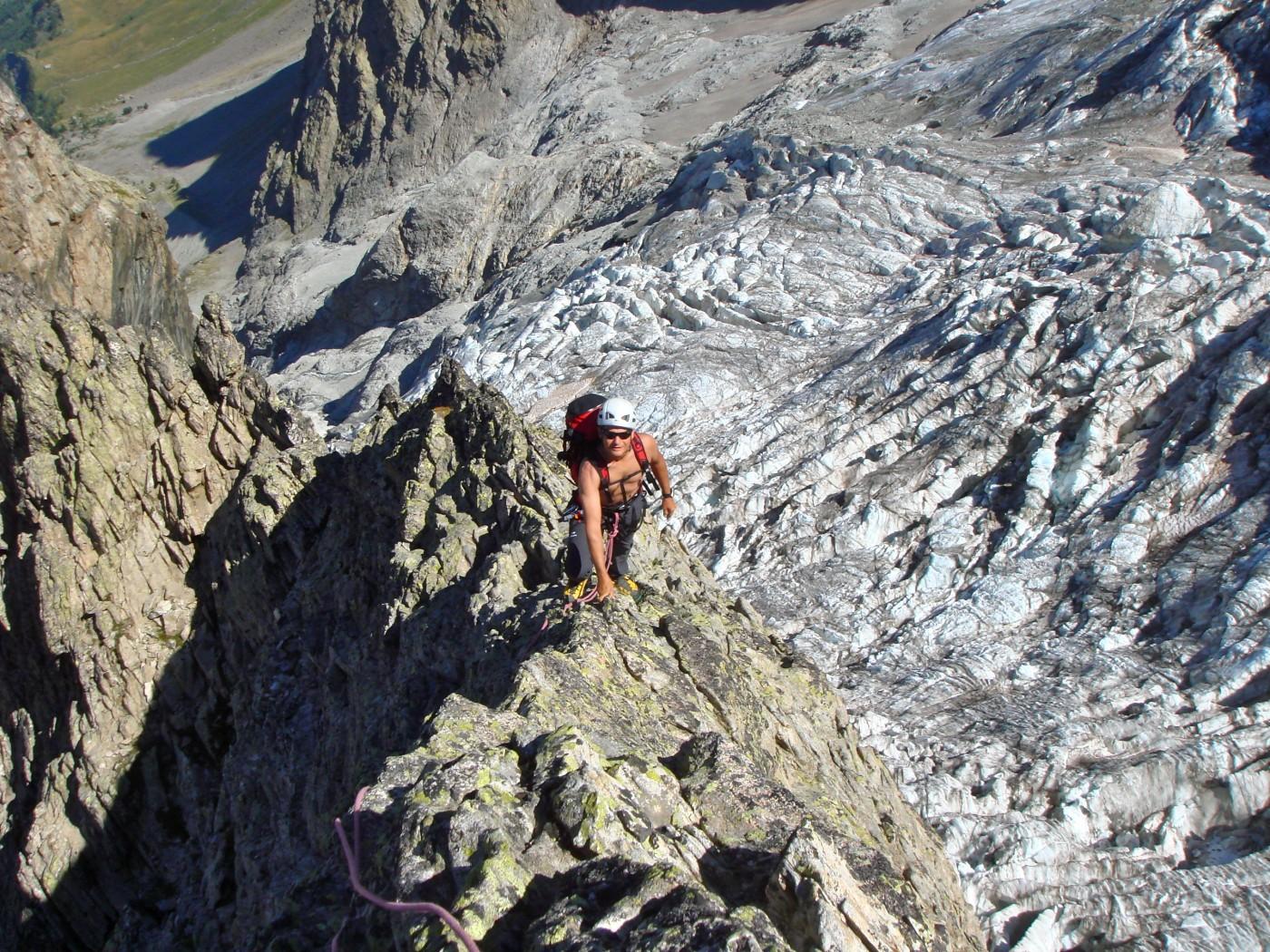 Sur l'arête des Enfetchores. En contrebas le Glacier de la Meije. Alpinisme dans le massif des Ecrins, Oisans.