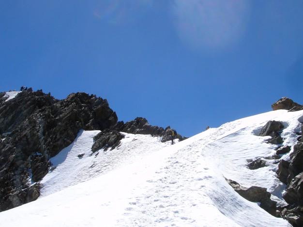 Le sommet du Pic de la Grave (3667 m). Alpinisme dans le massif des Ecrins, Oisans.