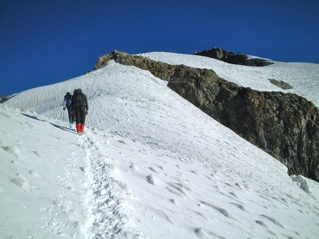 Sur l'arête de la Roche Faurio. Massif des Ecrins, Hautes Alpes.