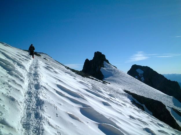 Montée à la Roche Faurio. Non loin du sommet. Massif des Ecrins, Hautes Alpes.