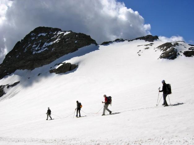 Descente sur le Glacier de Séguret Forant depuis le Dôme du Monêtier. Alpinisme, Massif des Ecrins, Briançonnais, Hautes Alpes.