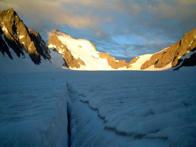 Sur le glacier Blanc. Alpinisme, Massif des Ecrins, Briançonnais, Hautes Alpes.