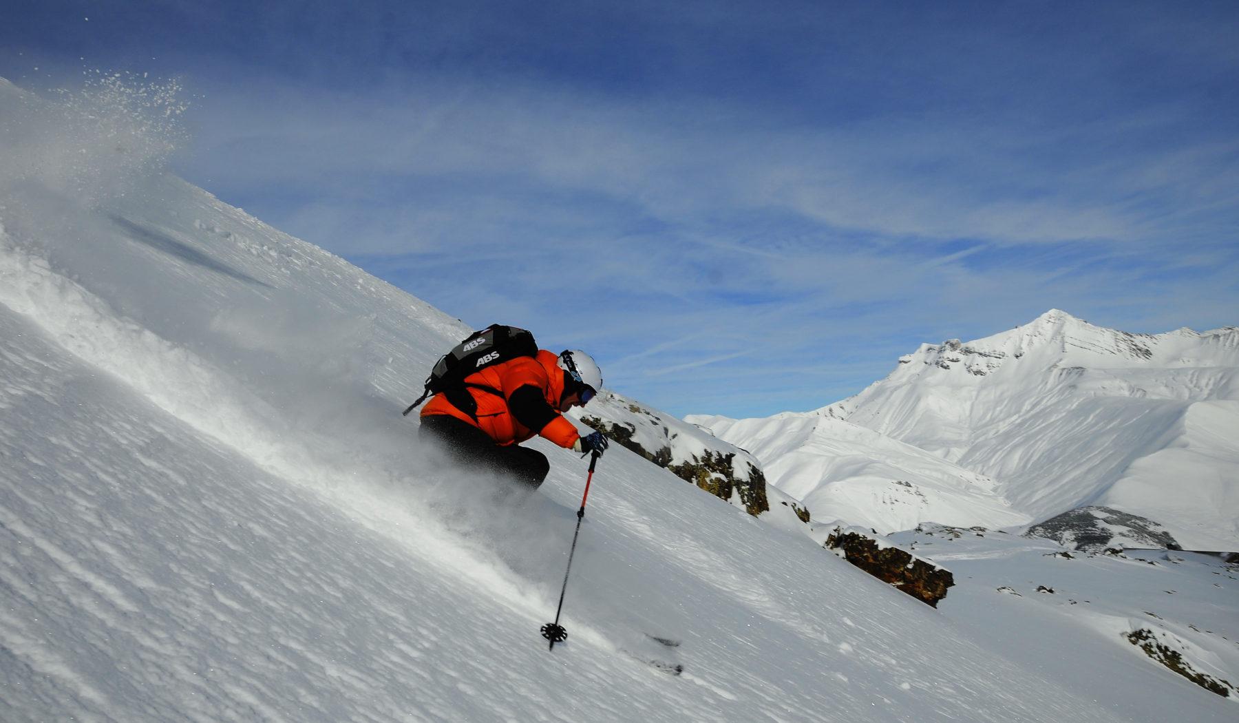 Ski hors piste à la Grave. Massif des Ecrins, Oisans.