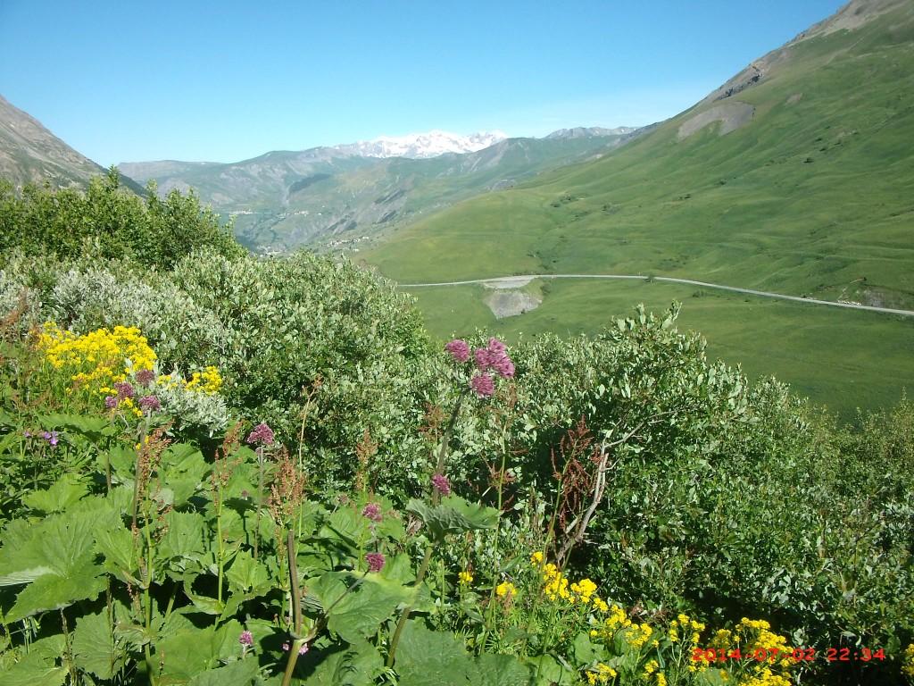 Le sentier des Crevasses versant Lautaret, l'Alpe d'Huez en arrière plan