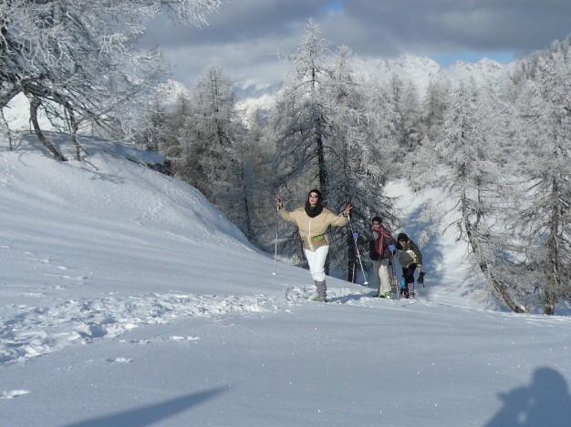 Randonnée raquette au départ de Puy St Vincent pour monter au sommet de la tête d'Auréac face aux Ecrins, dans la vallée de la Vallouise.