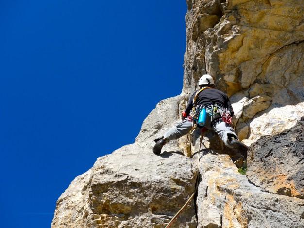 Départ de la voie d'escalade